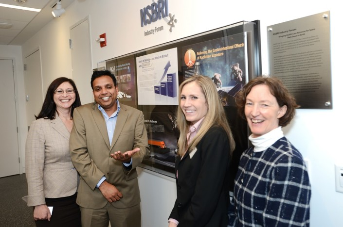 From left: Dr. Dorit Donoviel, NSBRI Deputy Chief Scientist and  Industry Forum Lead, Dr. Sadasivan Vidyasagar, Chief Scientific Officer  of Enterade, Inc., Kimberly Kentner, Engineer at ACell, Inc., and  Marti Fleming, SMARTCAP administrator; Enterade and ACell  received SMARTCAP awards in 2012.