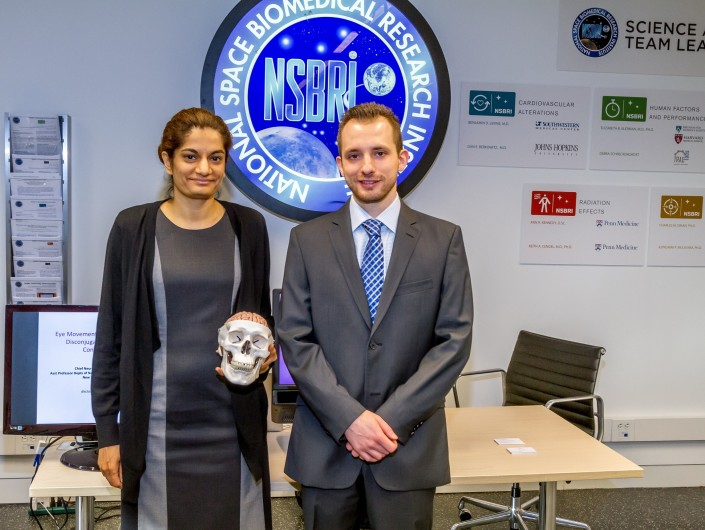 Dr. Uzma Samadani and Robert Ritlop of Oculogica, Inc. demonstrating EyeBox-CNS,  a rapid eye tracking technology that is sensitive to brain abnormalities and injuries.